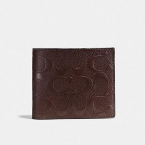 New Coach Signature Leather Compact ID Wallet